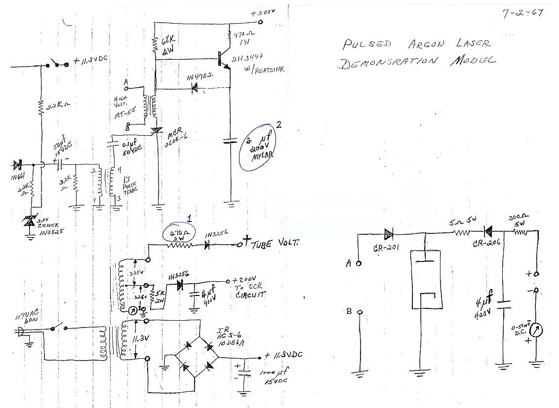 Sams Laser Faq Home Built Pulsed Argon And Or Krypton Ar Kr Ion Peak Current In Thyristor Xenon Flash Tube Trigger Circuit Hand Drawn Partial Diagram Of Vintage Demonstration